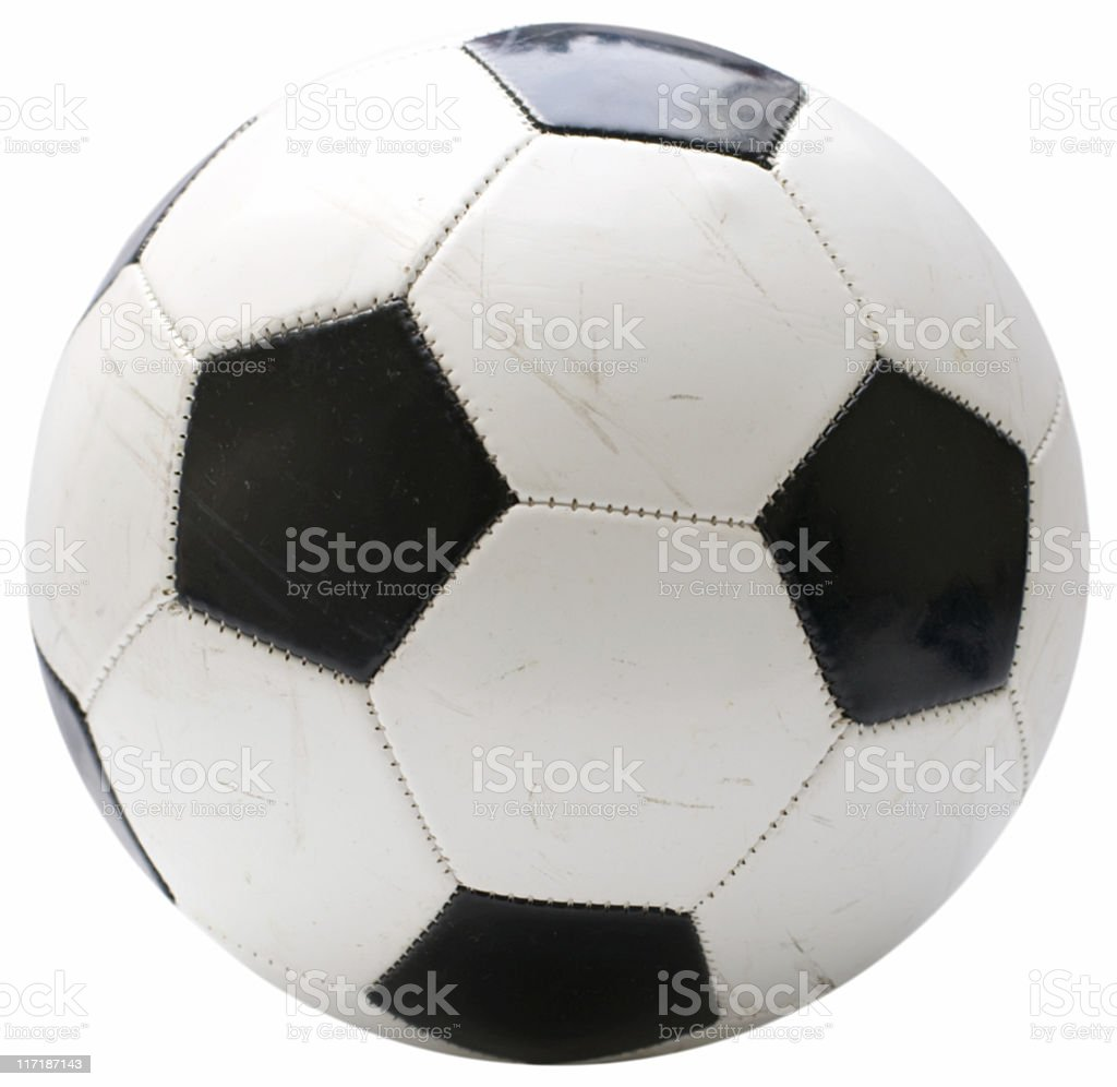Used soccer ball isolated on white stock photo