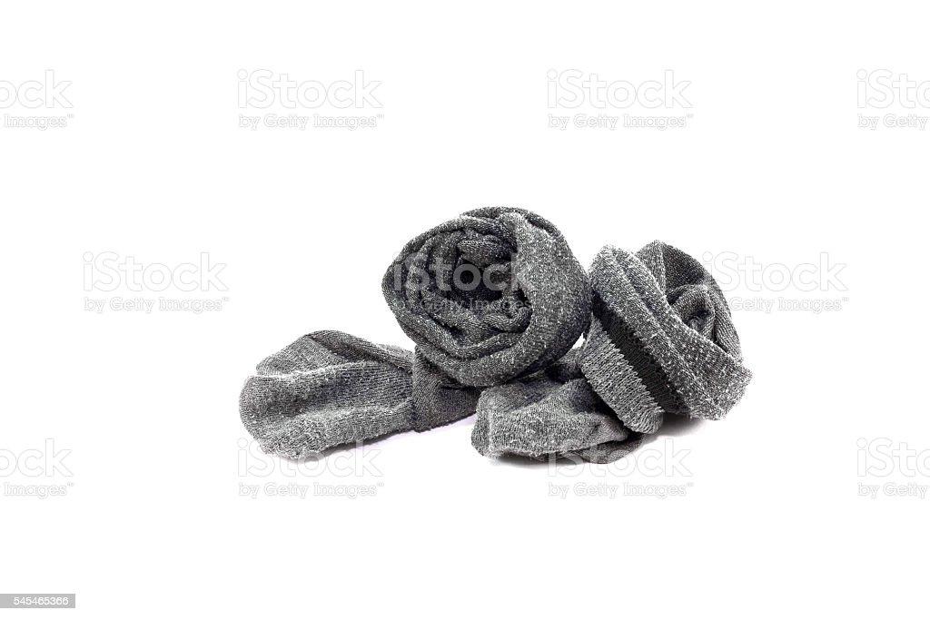Used socks isolated from white background. stock photo
