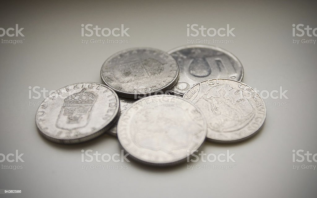 used swedish coins stock photo