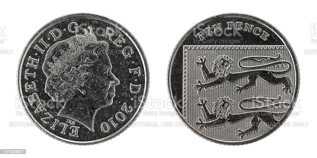 Used ten pence coin with Queen Elizabeth, isolated (both sides) stock photo