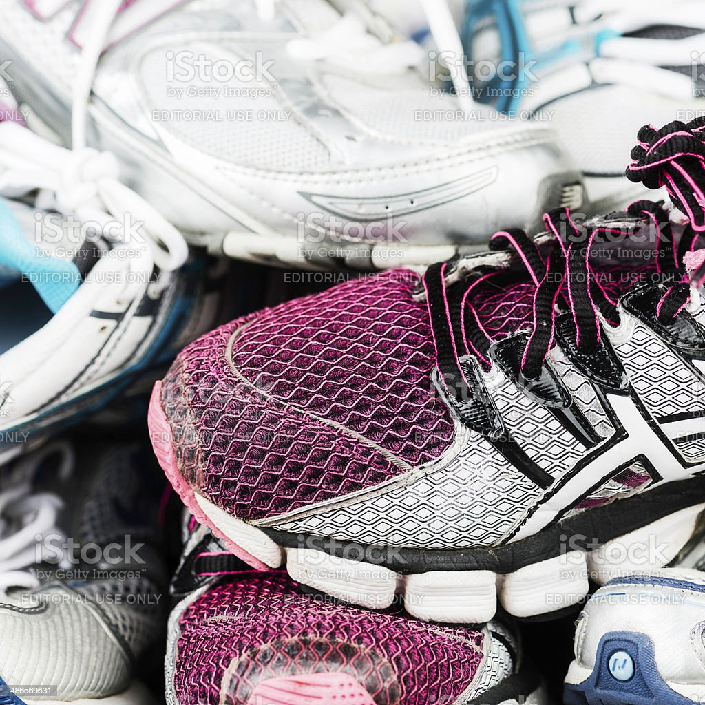 Used Tennis Shoes Ready for Donation royalty-free stock photo