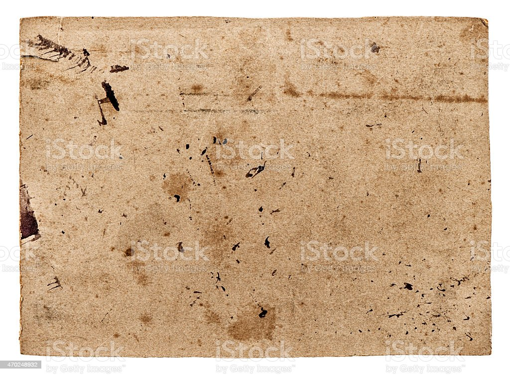 Used textured paper cardboard isolated on white. Scrapbook objec stock photo