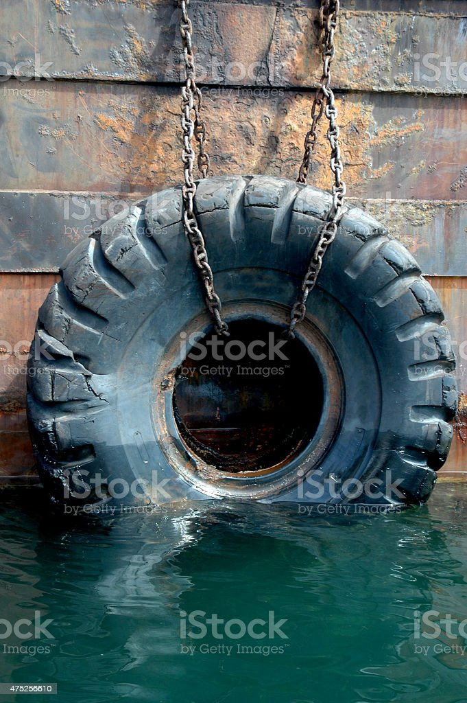 used tires on the ship stock photo