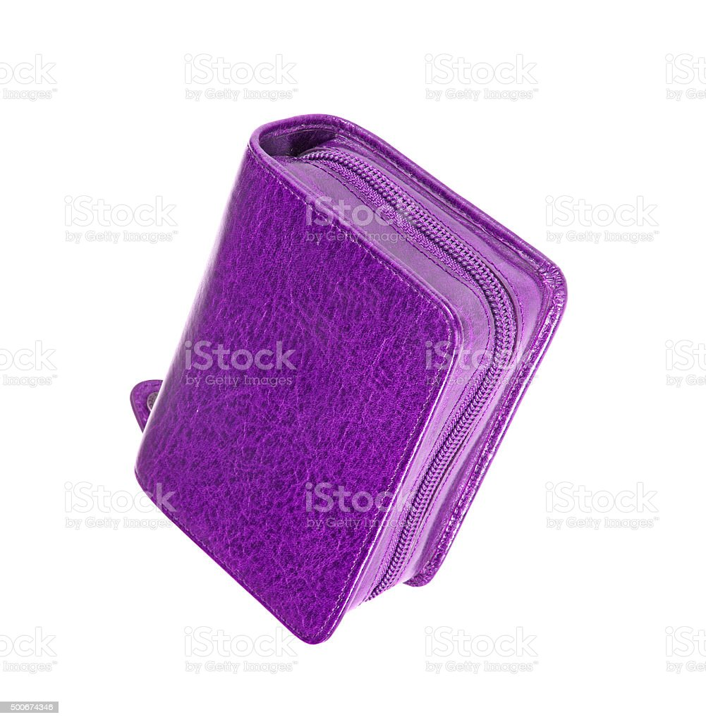 Used violet pencil holder case stock photo