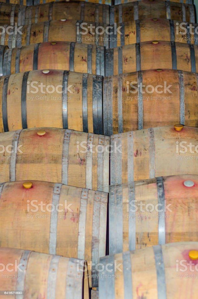 Used wine barrels stock photo