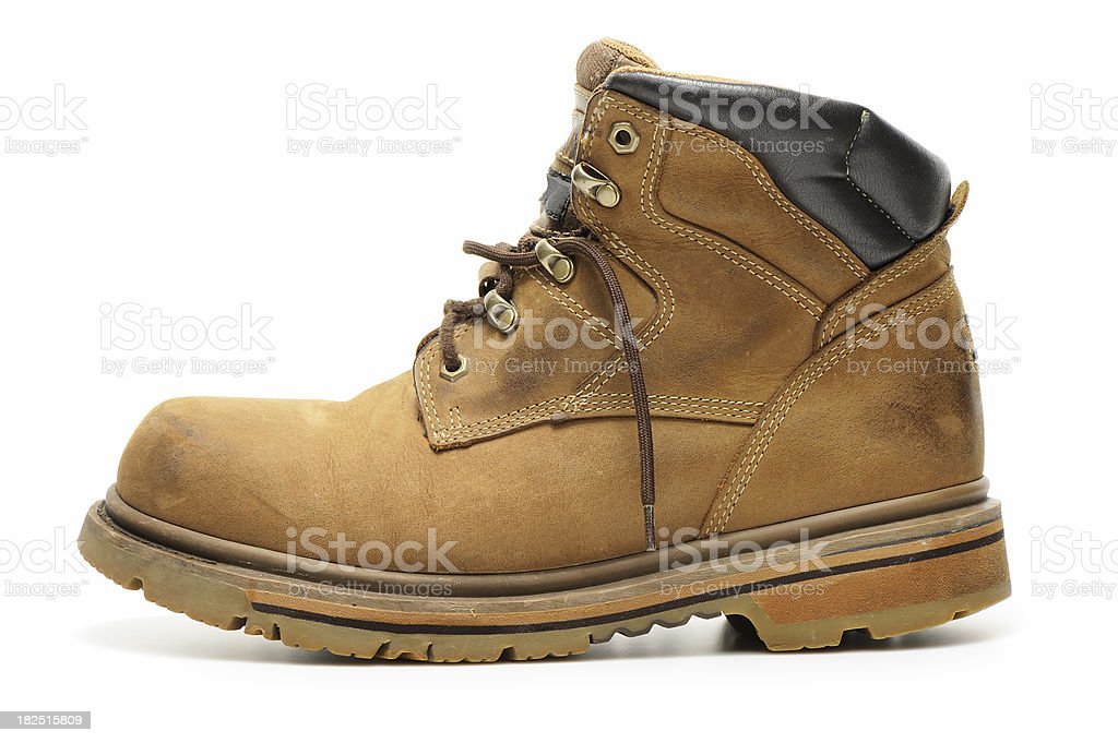 Used work boot stock photo