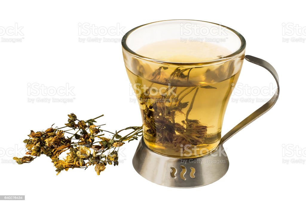 Useful tea with dried flowers St. John's wort stock photo
