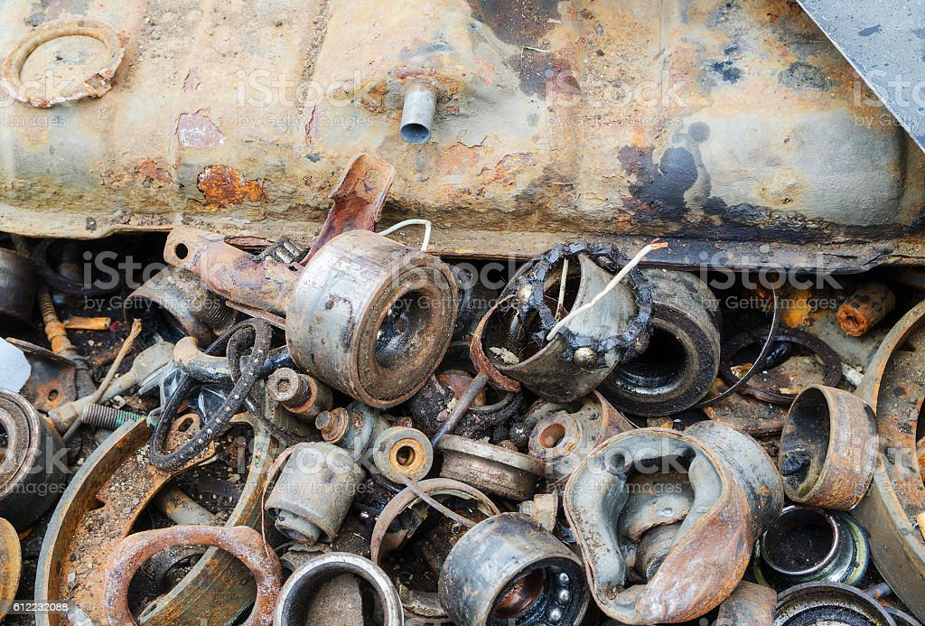 Useless, old rusty bearings and other parts stock photo