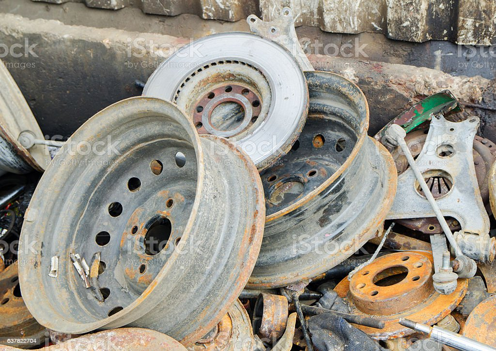 Useless,  rusty brake discs and other parts stock photo