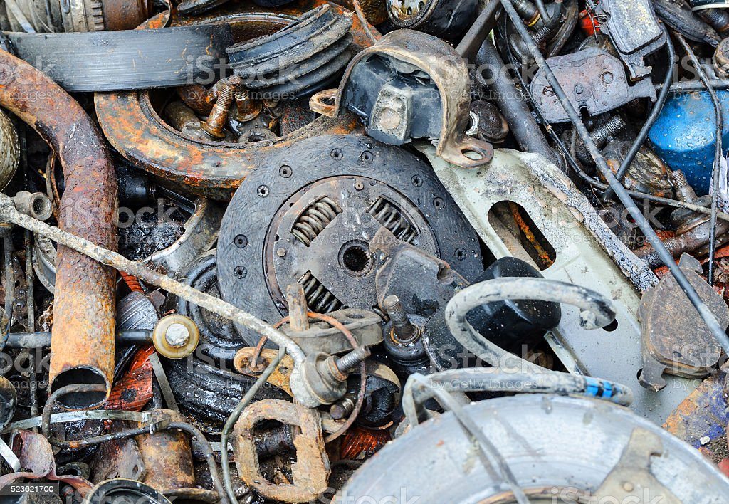 Useless, rusty brake discs shock absorber and other parts stock photo