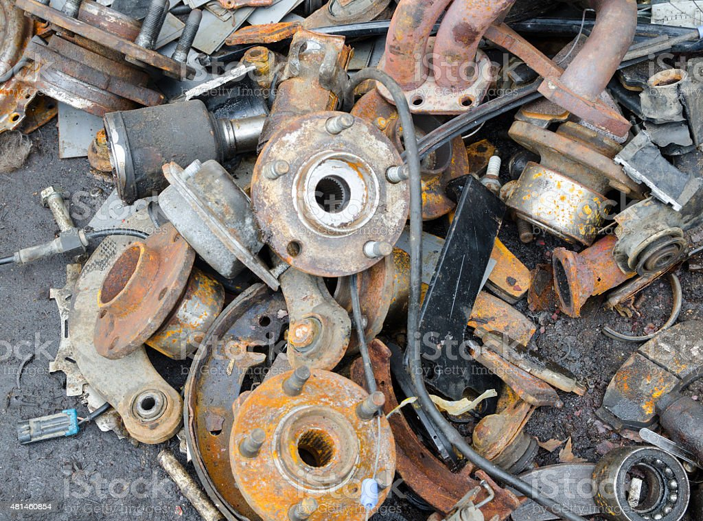 Useless, worn out rusty brake discs stock photo