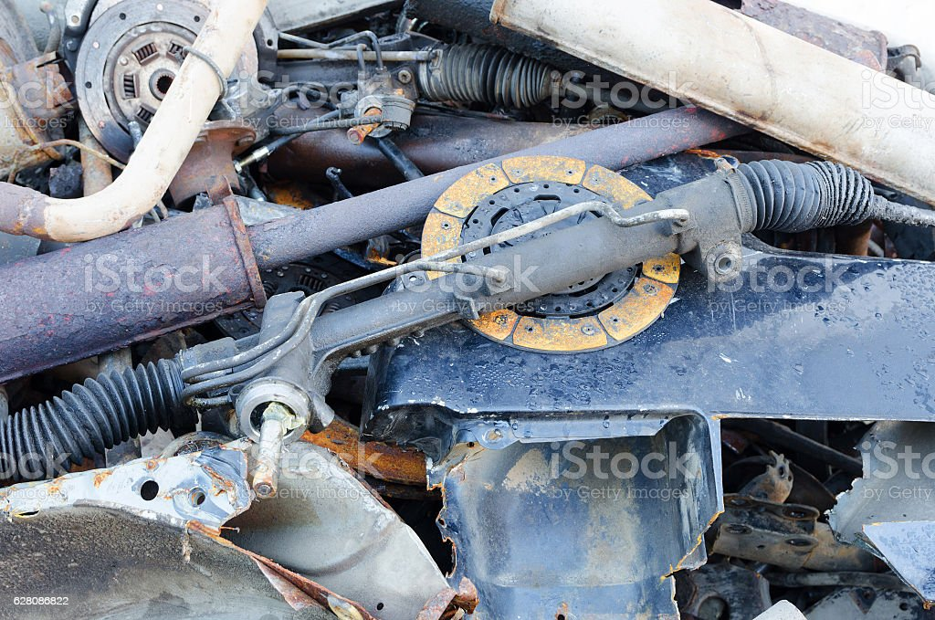 Useless, worn out rusty clutch discs and other stock photo