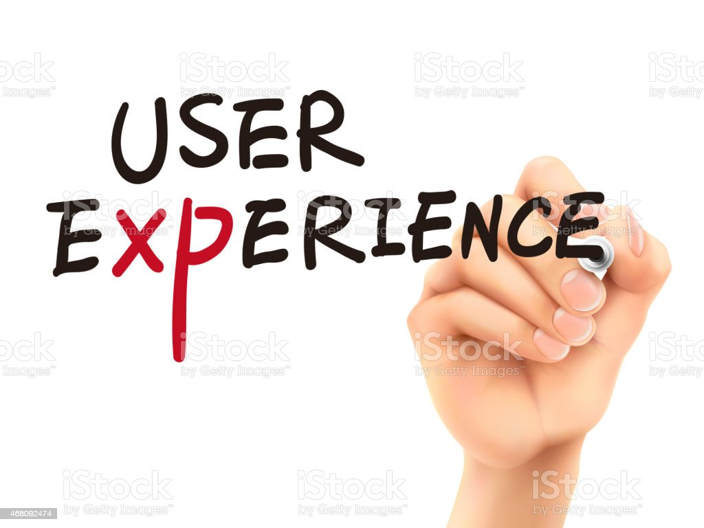 user experience words written by 3d hand stock photo