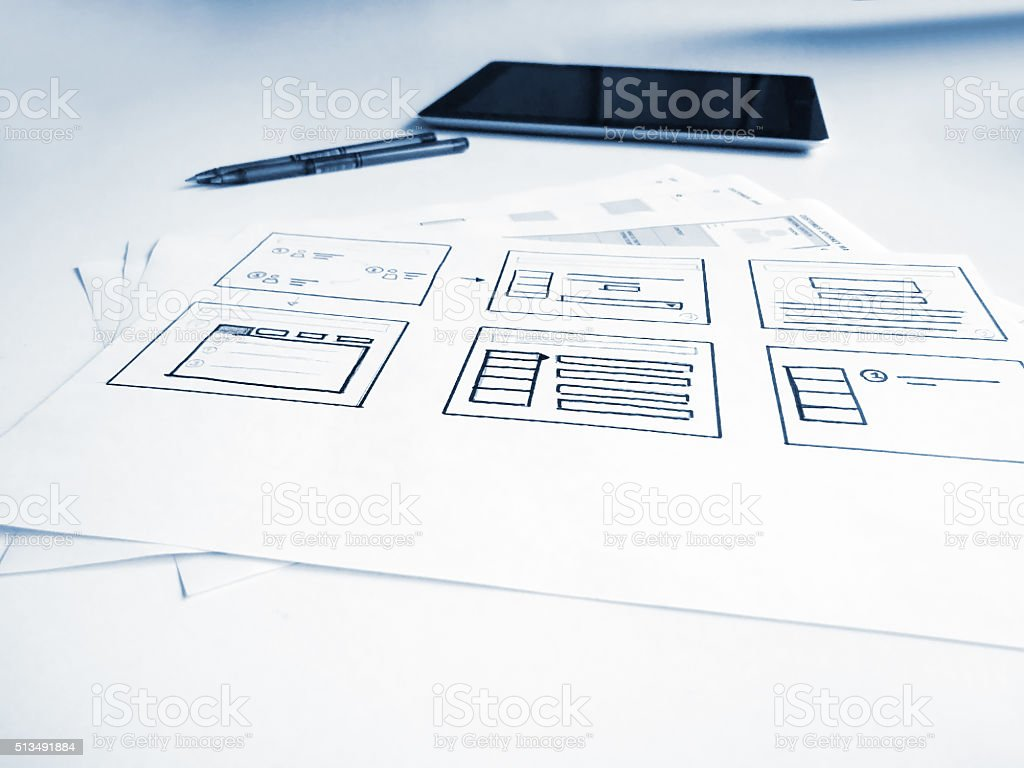 User interface concept sketches of mobile application stock photo