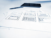 User interface concept sketches of mobile application