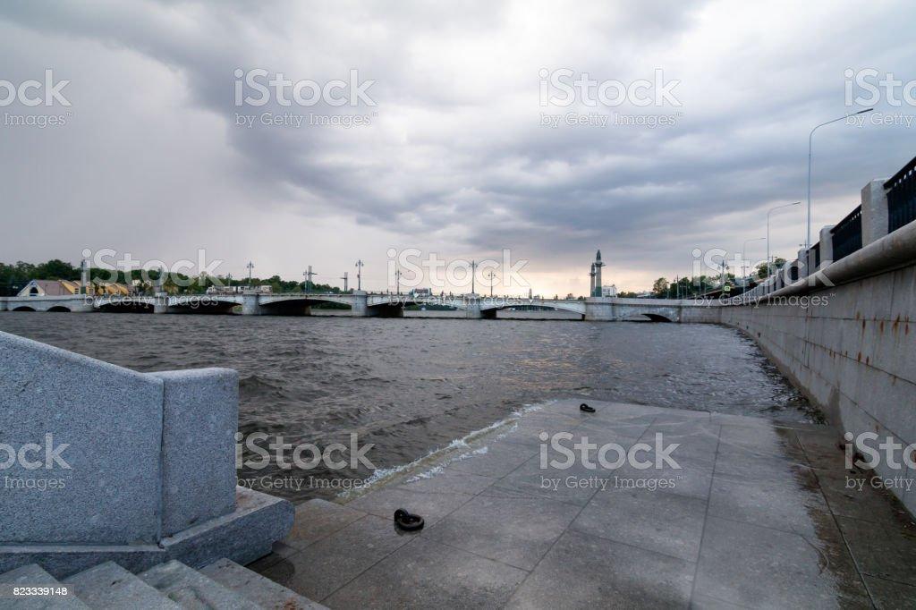 Ushakovsky Bridge in St. Petersburg on a cloudy day stock photo