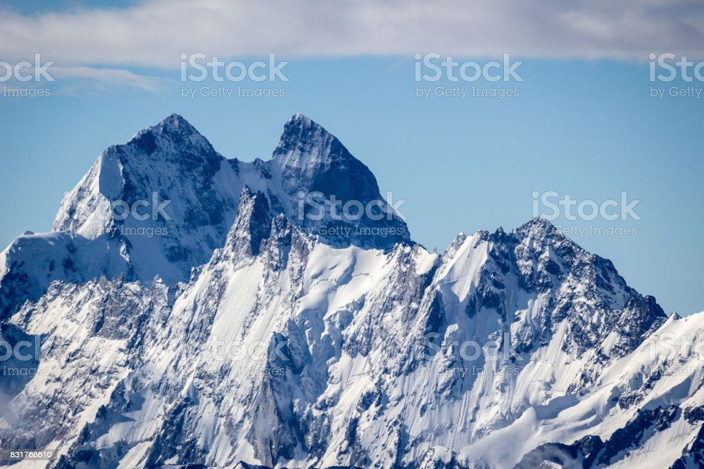 Ushba mountain closeup in the morning. The Greater Caucasus Range.  Georgia. stock photo