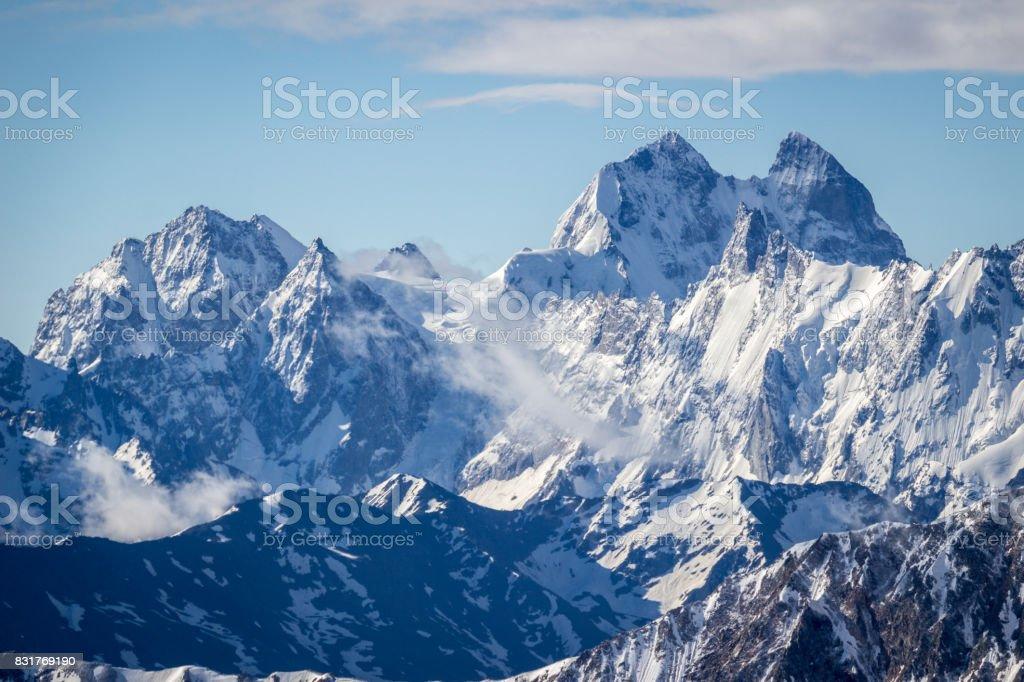 Ushba mountain in the morning. The Greater Caucasus Range.  Georgia. stock photo