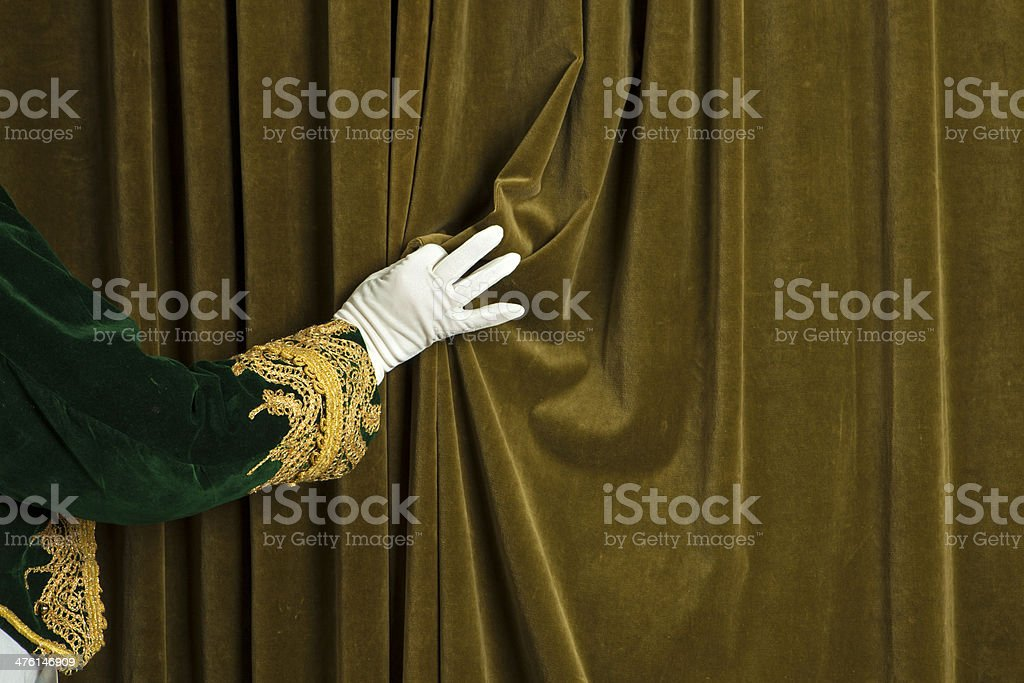 Usher reveals the curtain stock photo