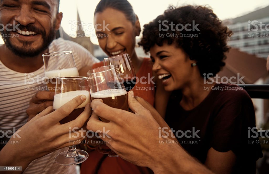 Ushering in the weekend with some fun and laughter stock photo