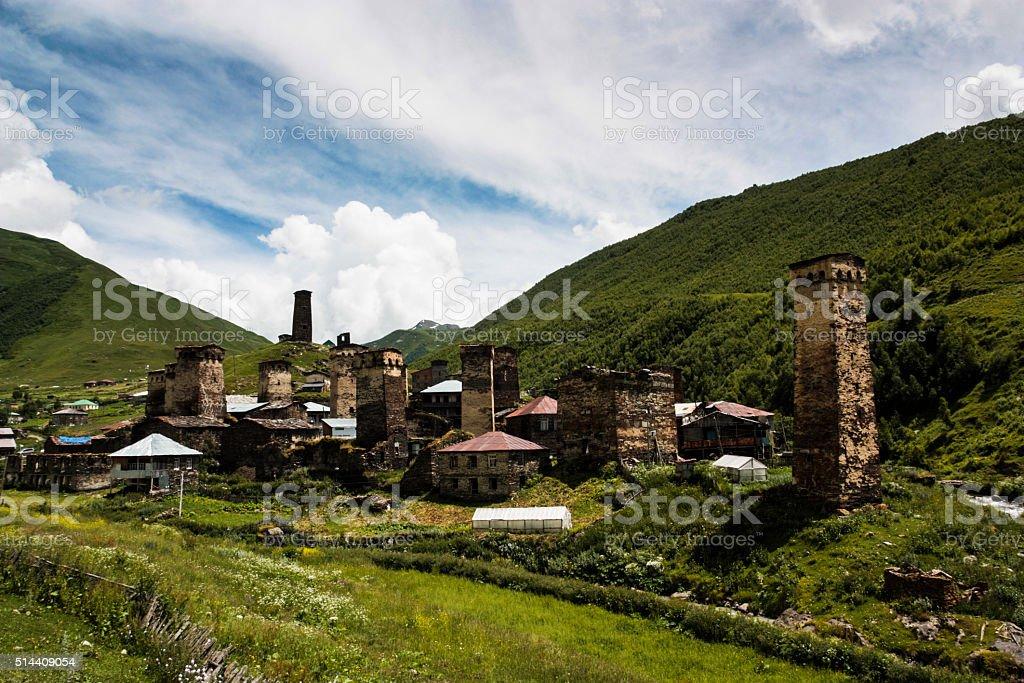 Ushguli Town stock photo