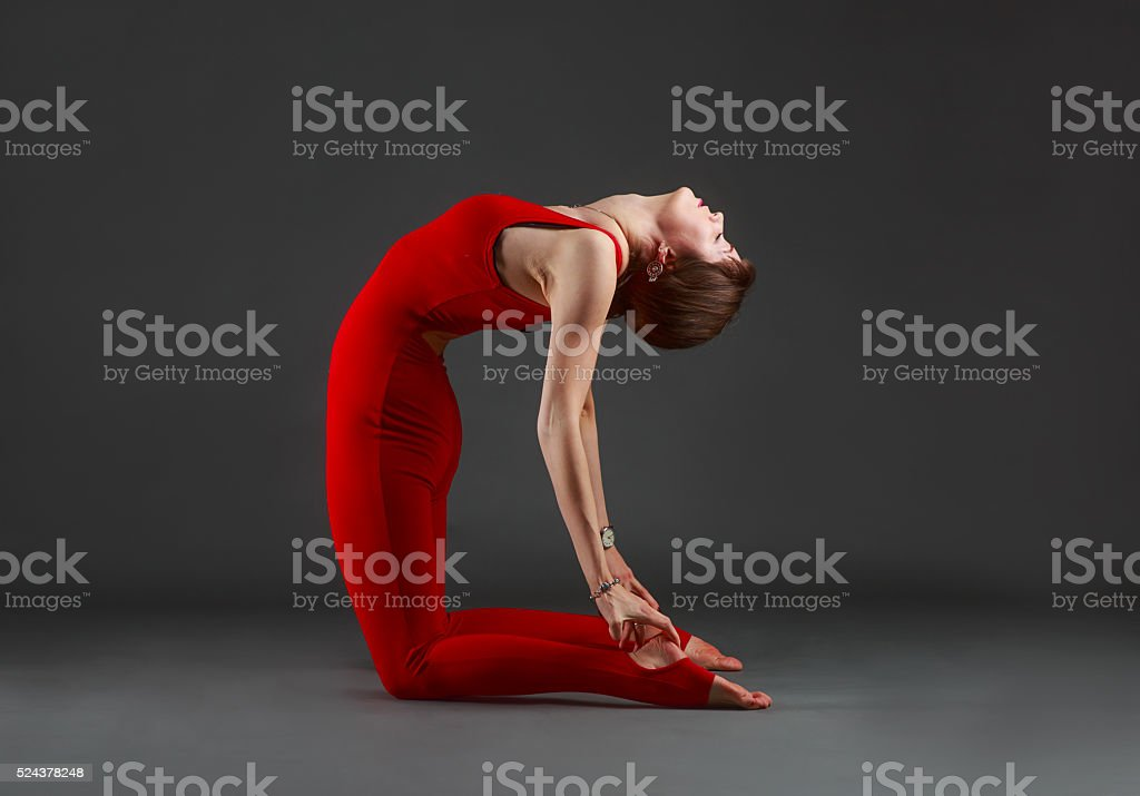 ushtrasana yoga stock photo