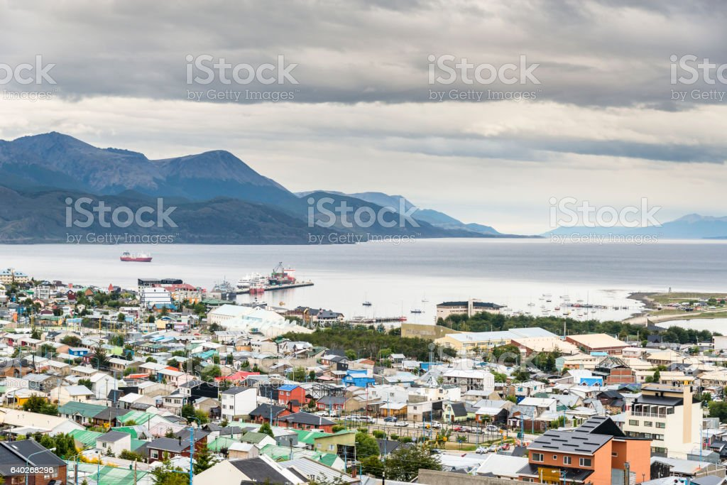 Ushuaia and Beagle Channel, Argentina. Province of Tierra del Fuego stock photo
