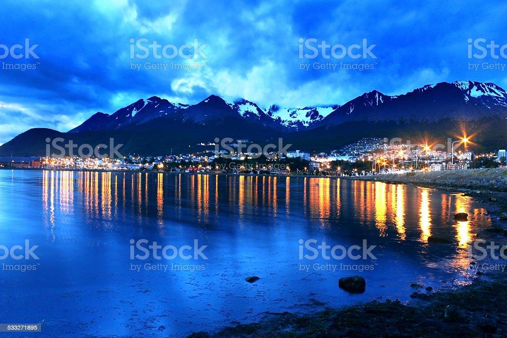 Ushuaia at night stock photo