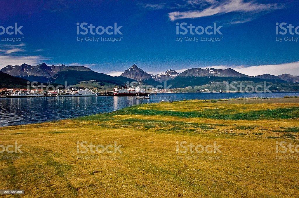 Ushuaia bay at Beagle Channel, Argentina stock photo