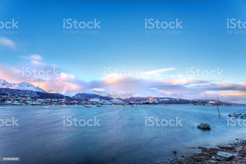 Ushuaia Bay view from Beagle Channel in Patagonia Argentina stock photo