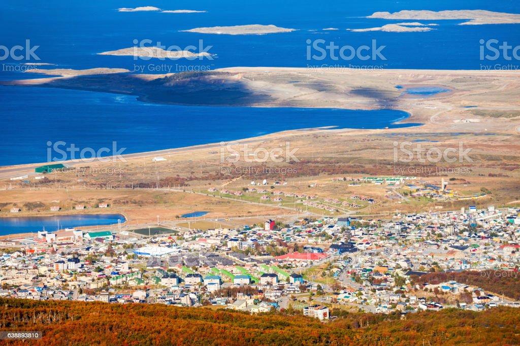 Ushuaia from Martial Glacier stock photo