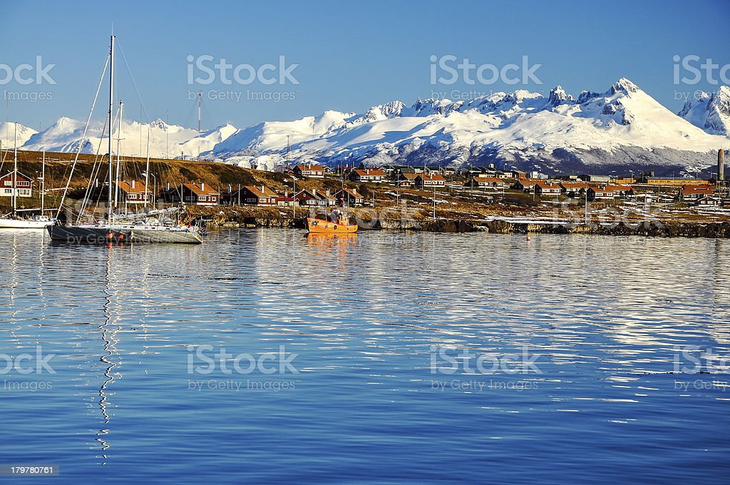 Ushuaia from the Beagle Channel stock photo
