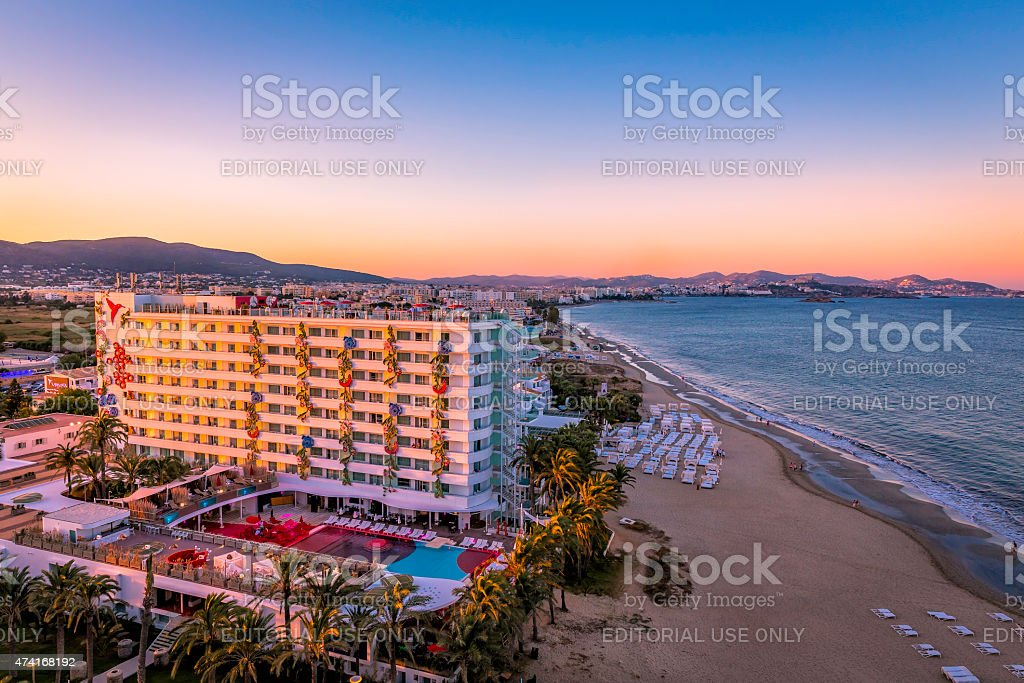 Ushuaia Hotel on Playa d'en Bossa Beach in Ibiza. stock photo
