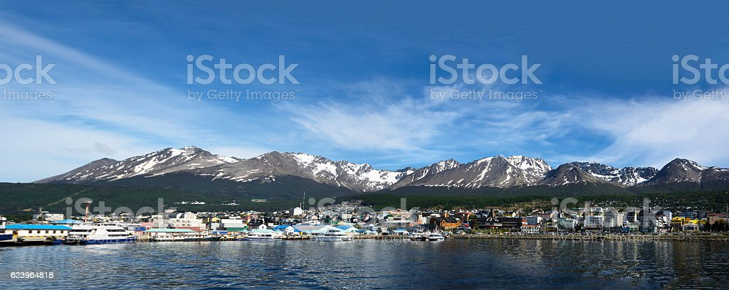 Ushuaia viewed from Beagle channel (Argentina) stock photo