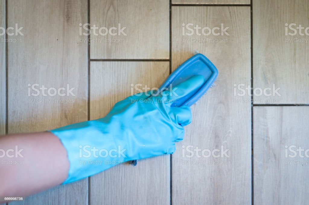 Using a brush to clean stock photo