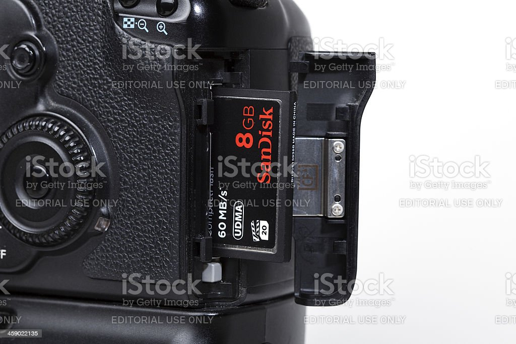 Using a compact flash memory card royalty-free stock photo