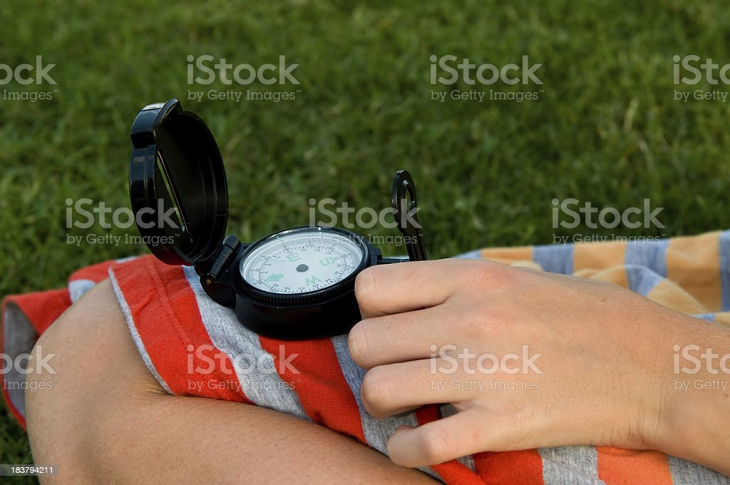 Using a compass royalty-free stock photo