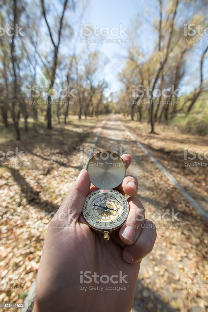 Using a compass stock photo