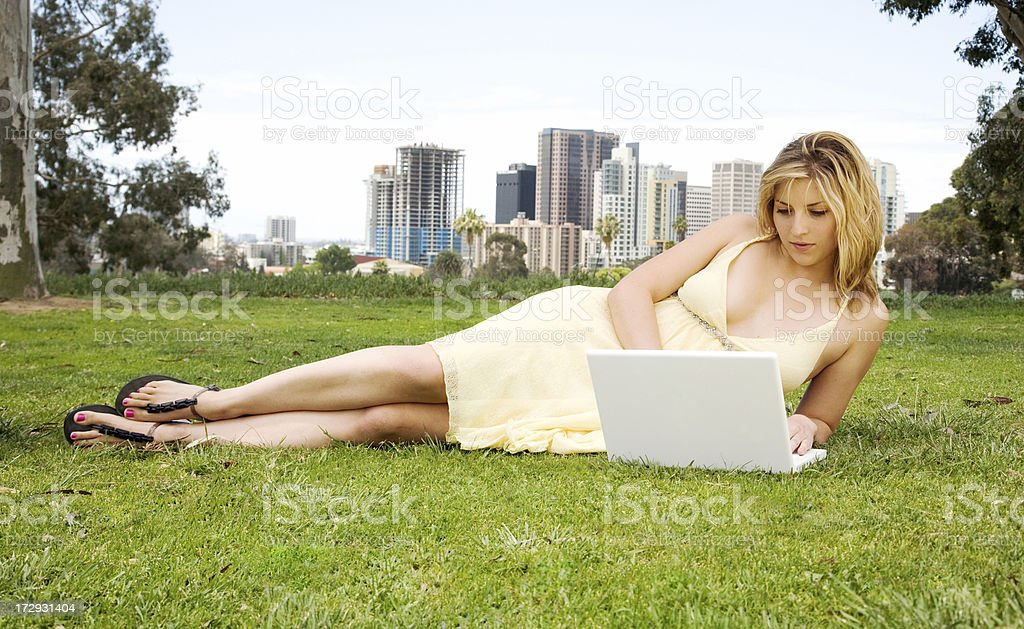 Using a Laptop royalty-free stock photo