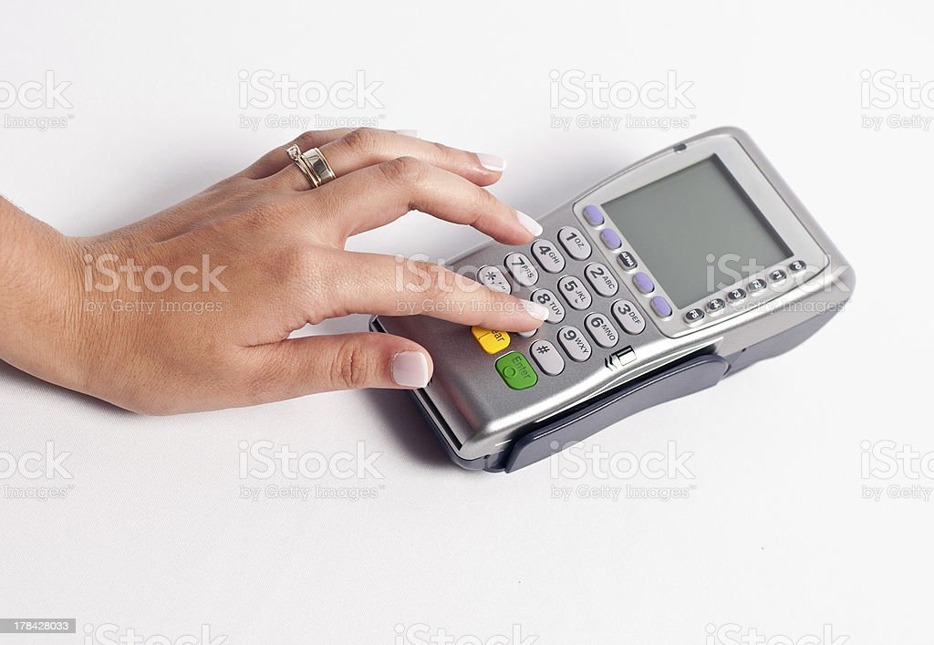 Using a point of sale stock photo
