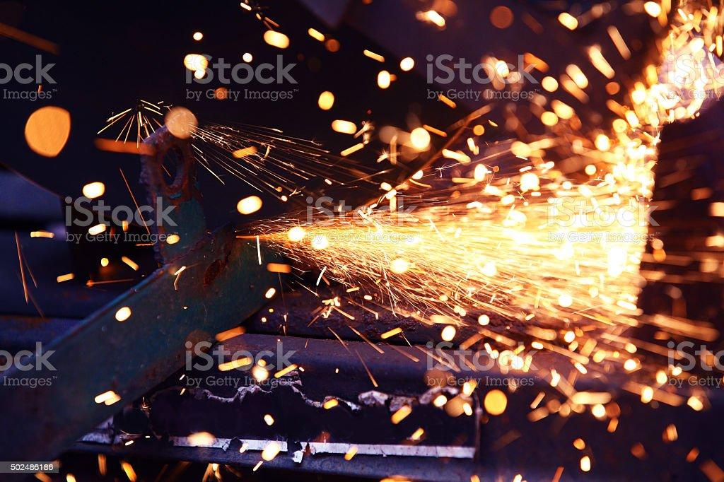Using a sliding compound mitre saw. stock photo