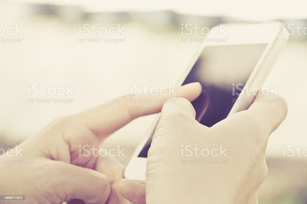 Using a Smart Phone background stock photo