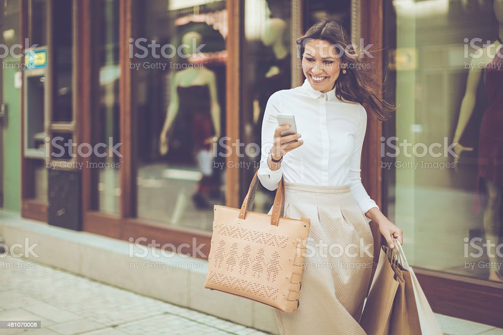 Using a smart phone stock photo