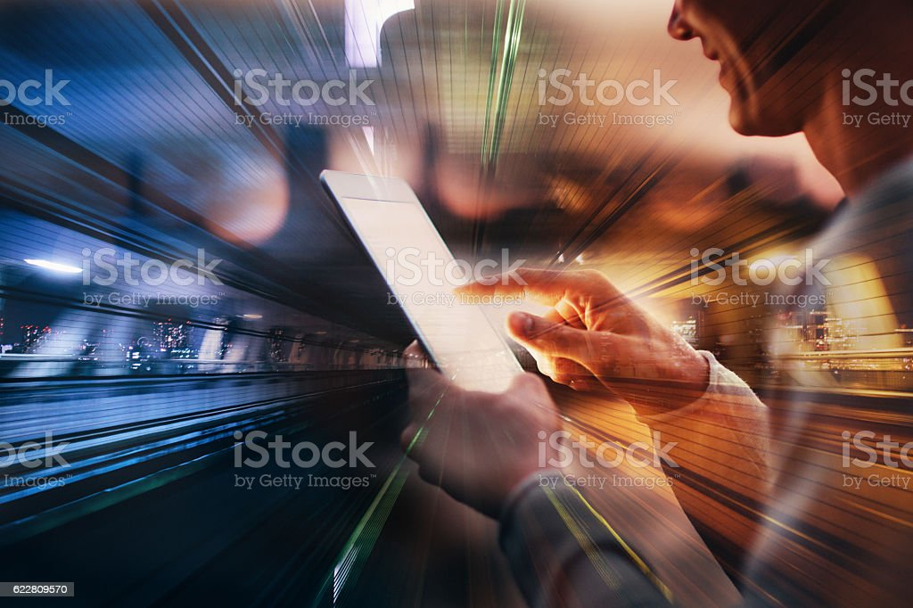 Using a tablet stock photo