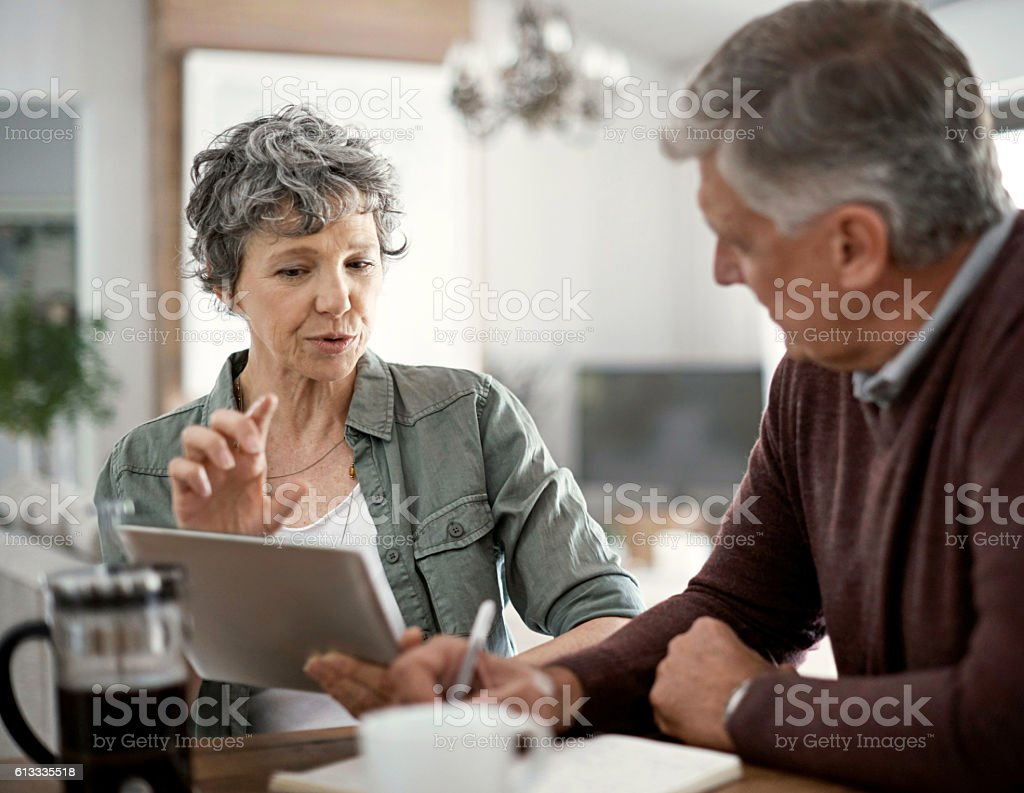 Using a tool online to do some renovation planning stock photo