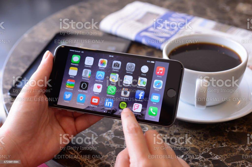 Using Apple iPhone 6 Plus stock photo