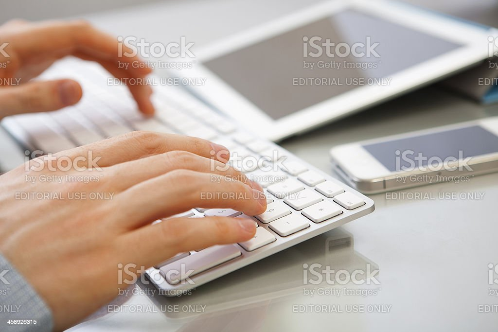 Using Apple products stock photo