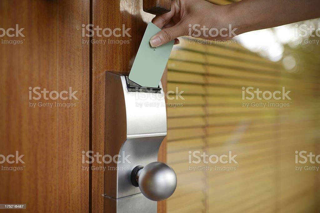 Using Card Open The Door stock photo