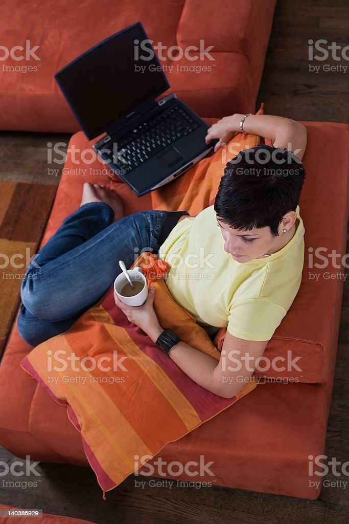 Using computer at home royalty-free stock photo