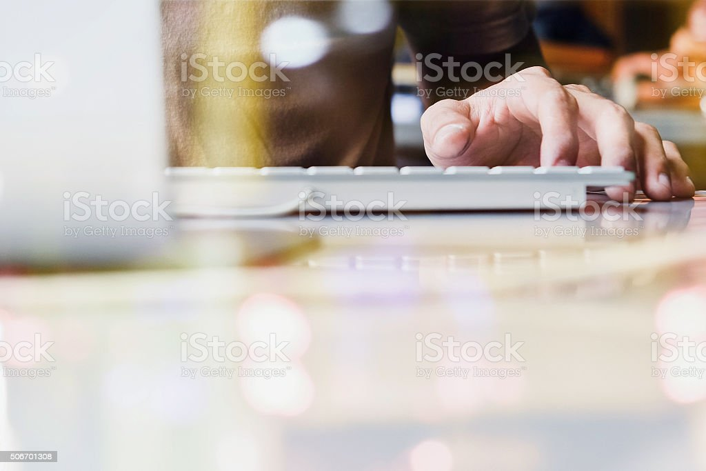 using computer double exposure stock photo